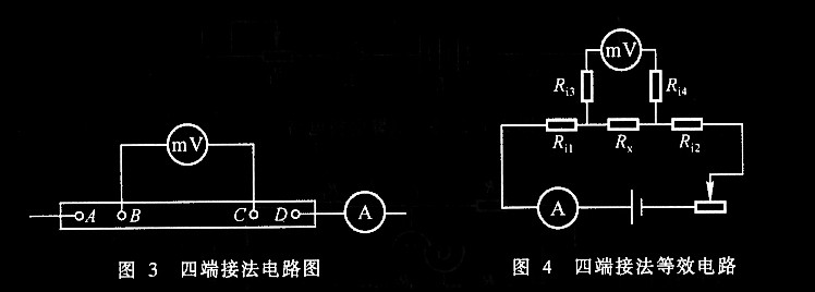 电阻按照阻值大小可分为高电阻(100KW以上)、中电阻(1W ~100KW)和低电阻(1W 以下)三种。一般说导线本身以及和接点处引起的电路中附加电阻约为>0.1W,这样在测低电阻时就不能把它忽略掉。对惠斯通电桥加以改进而成的双臂电桥(又称开尔文电桥)消除了附加电阻的影响,适用于10-5~102 W电阻的测量。本实验要求在掌握双臂电桥工作原理的基础上,用双臂电桥测金属材料的电阻率。 实验原理 我们考察接线电阻和接触电阻是怎样对低值电阻测量结果产生影响的。例如用安培表和毫伏表按欧姆定律R=V/I测量电